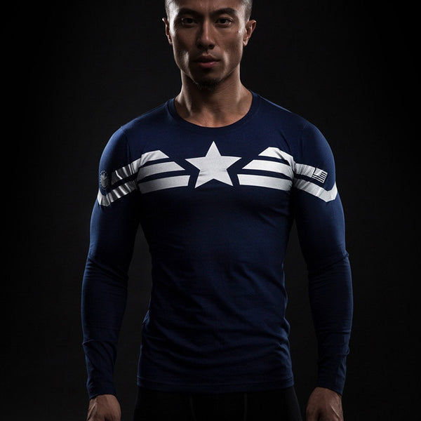 Captain America Star Long Sleeve Compression Shirt