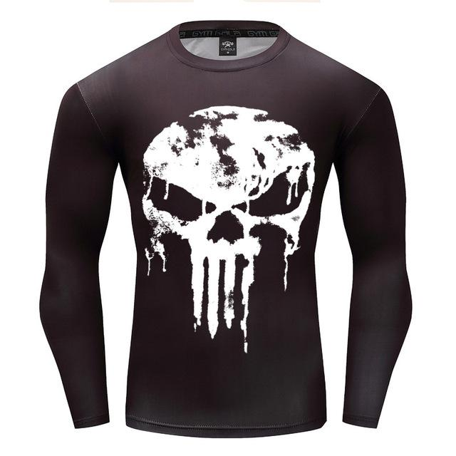 Punisher White Drip Long Sleeve Compression Shirt