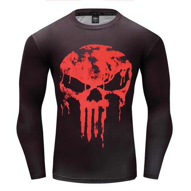Punisher Red Drip Long Sleeve Compression Shirt - magilook deep cleansing masks