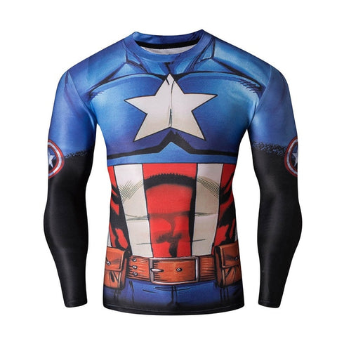 Animated Captain America Long Sleeve Compression Shirt