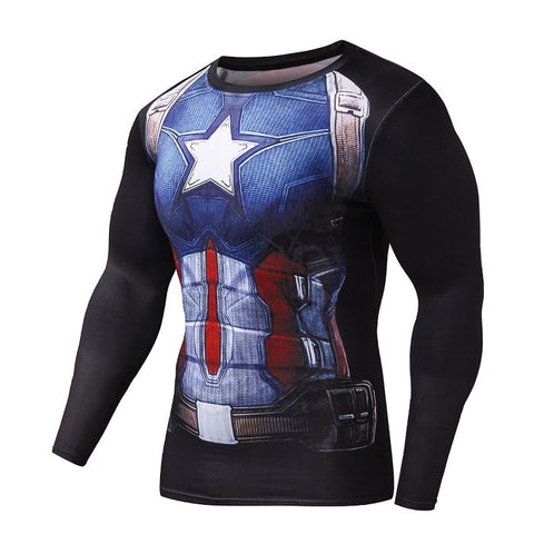 Captain America Black Long Sleeve Compression Shirt - Novelty Force