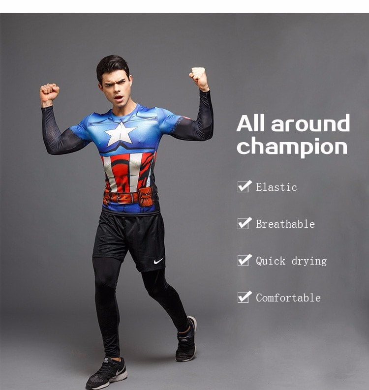 Animated Captain America Long Sleeve Compression Shirt - Novelty Force