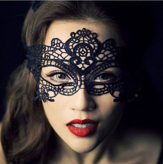 Black Sexy Lady Lace Mask Masquerade Party Style