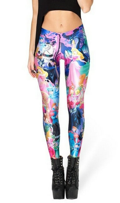 Cinderella Print Fitness Leggings - Novelty Force