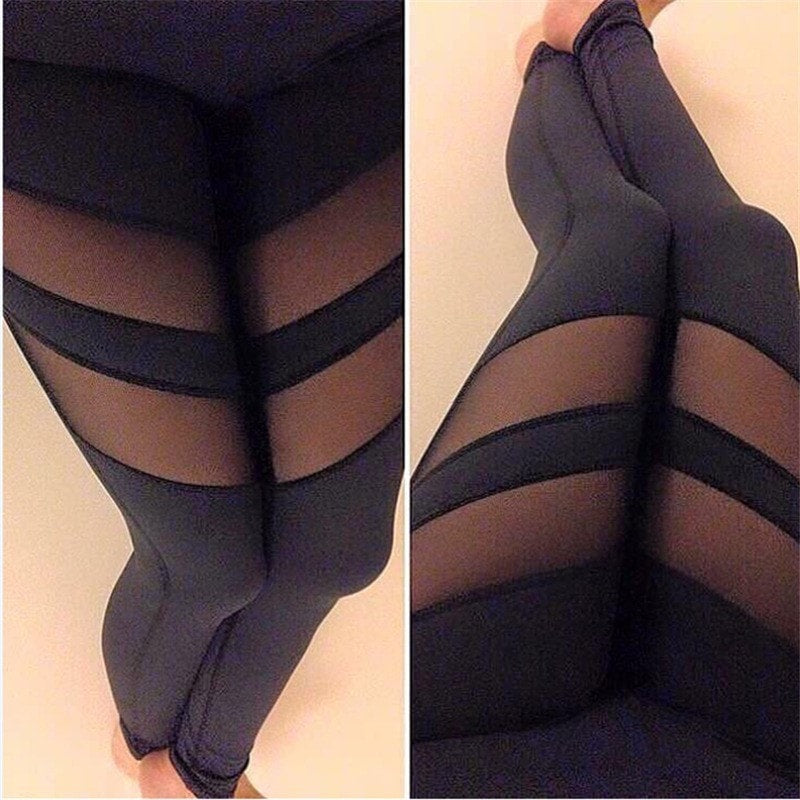 Transparent Stripe Fitness Leggings