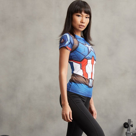 Ladies Captain America Compression Shirt 3