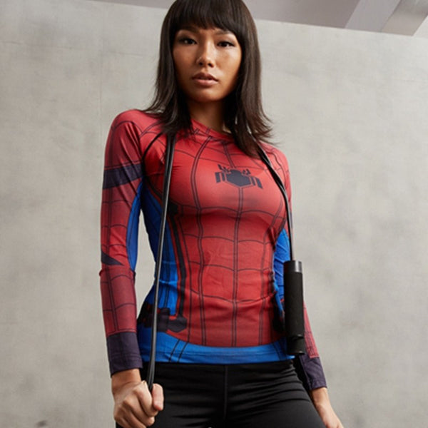 Ladies Civil War Spiderman Long Sleeve Compression Shirt