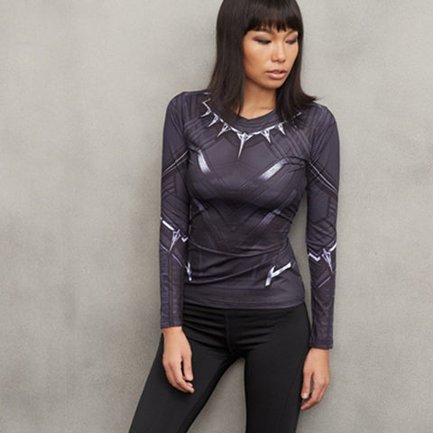 Ladies Black Panther Long Sleeve Compression Shirt