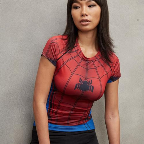 Ladies Civil War Spiderman Compression Shirt