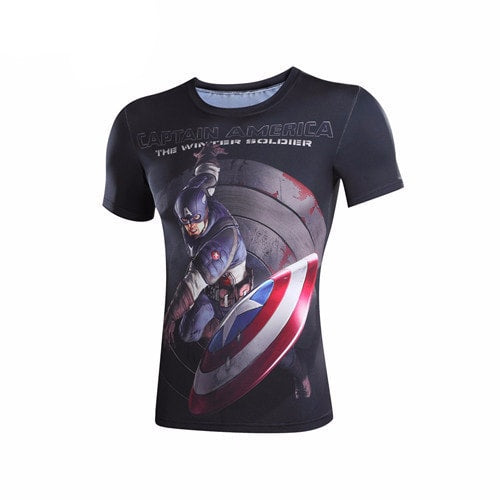 Captain America Shield Throw 3D Print Compression Shirt - Novelty Force