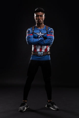 Captain America Shield Long Sleeve Compression Shirt - Novelty Force