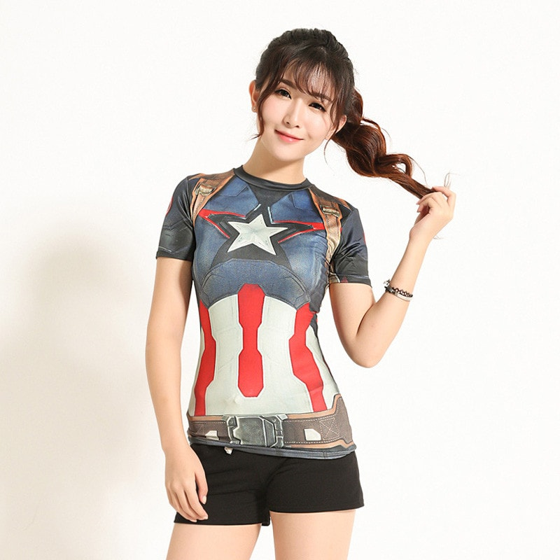 Ladies Captain America Compression Shirt - Novelty Force