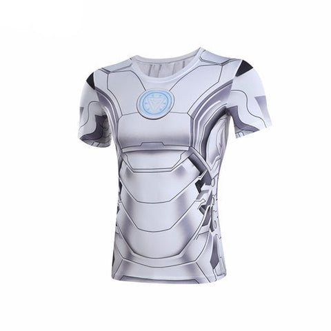 White Iron Man Suit Compression Shirt