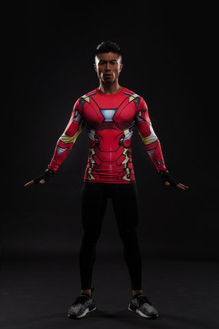 Iron Man Suit Long Sleeve Compression Shirt - Novelty Force