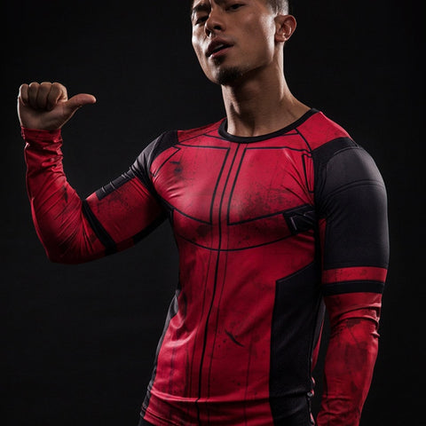 Deadpool Long Sleeve Compression Shirt - Novelty Force