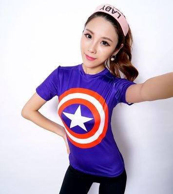 Ladies Captain America Logo Compression Shirt - Novelty Force