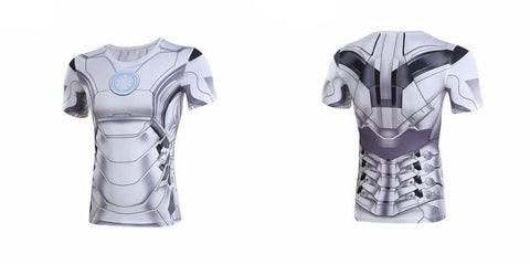 White Iron Man Suit Compression Shirt - Novelty Force