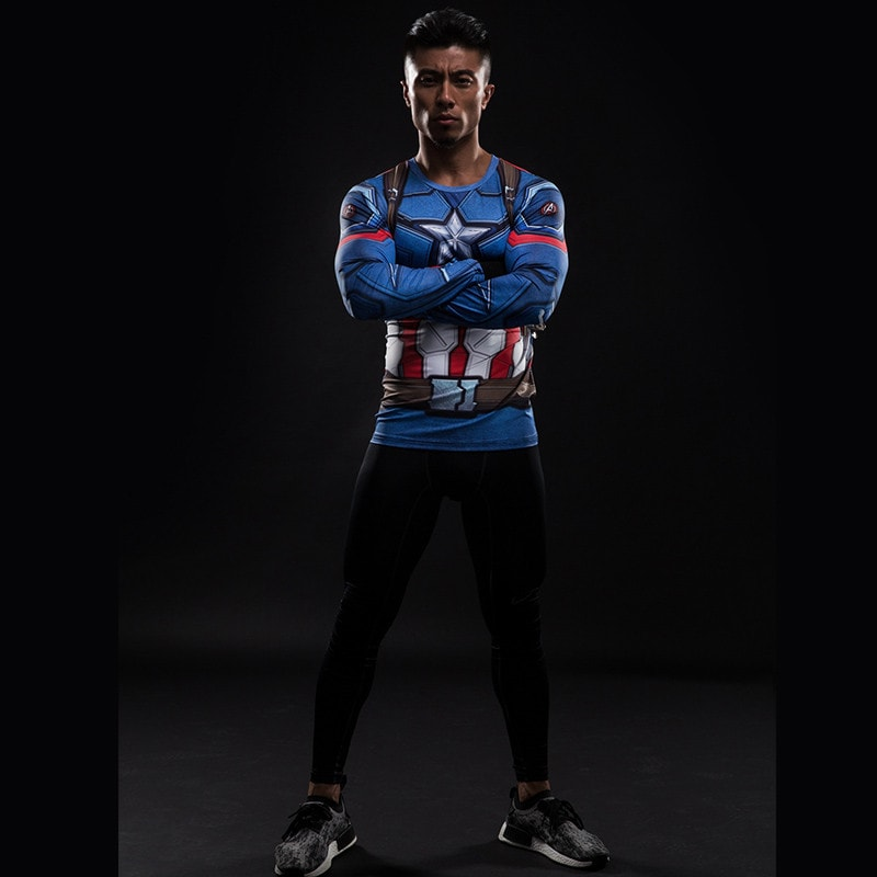 Captain America Long Sleeve Compression Shirt - Novelty Force