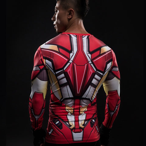Iron Man Suit Long Sleeve Compression Shirt