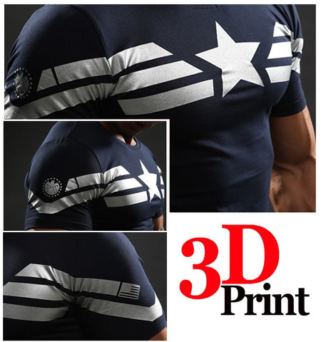 Captain America Star Compression Shirt - Novelty Force
