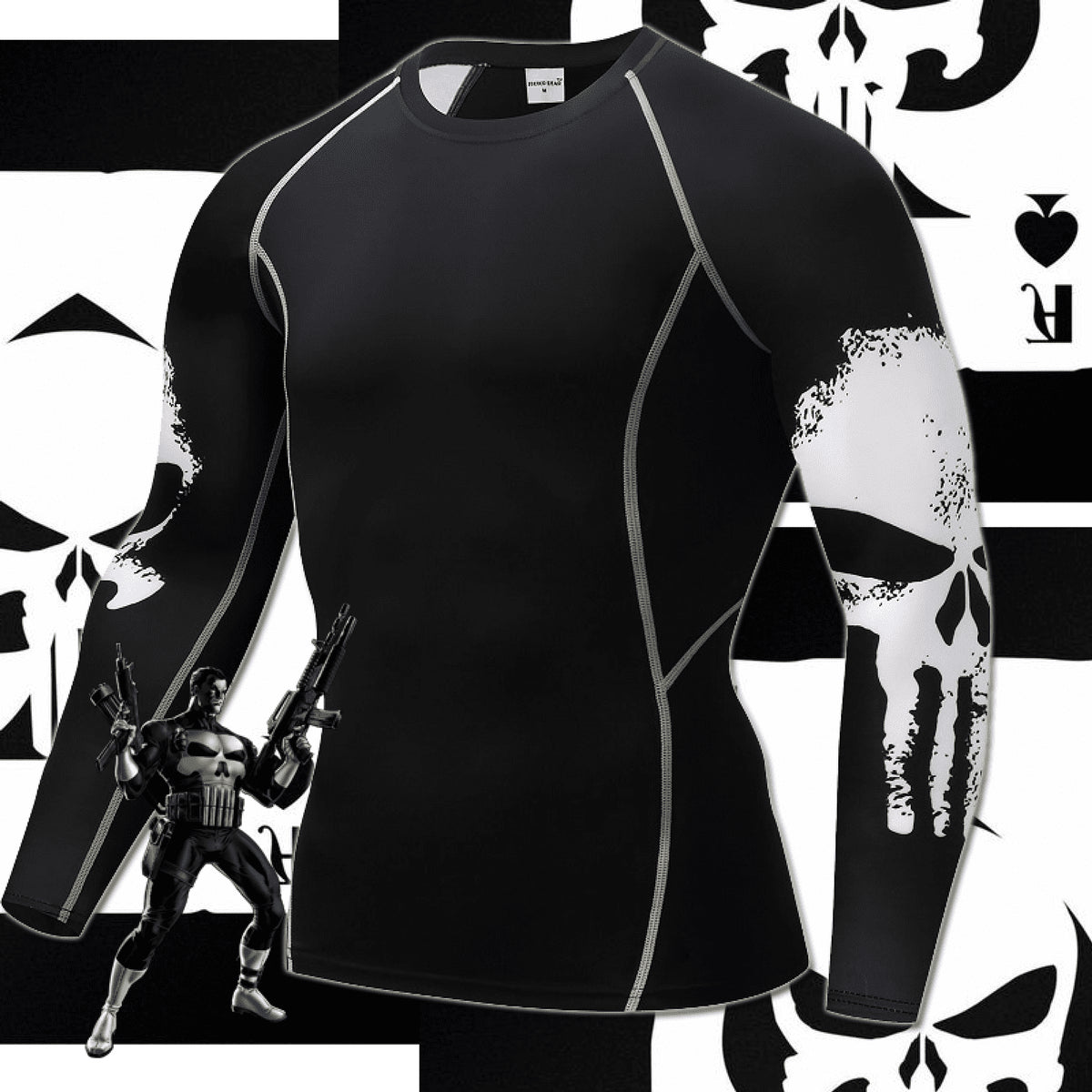 Punisher Long Sleeve Compression Shirt (skulls on side)