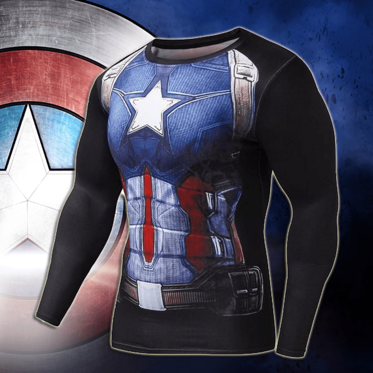 Captain America Black Long Sleeve Compression Shirt