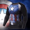 Image of Captain America Black Long Sleeve Compression Shirt