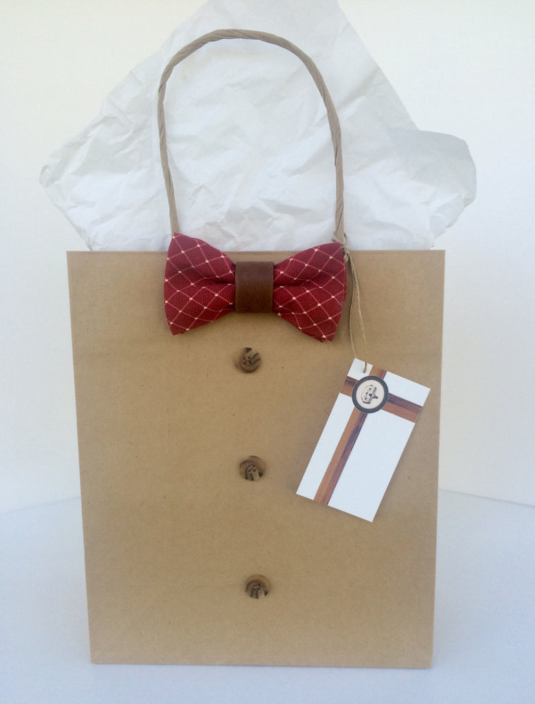 Red Diamond and Leatherette Bowtie Gift Bag
