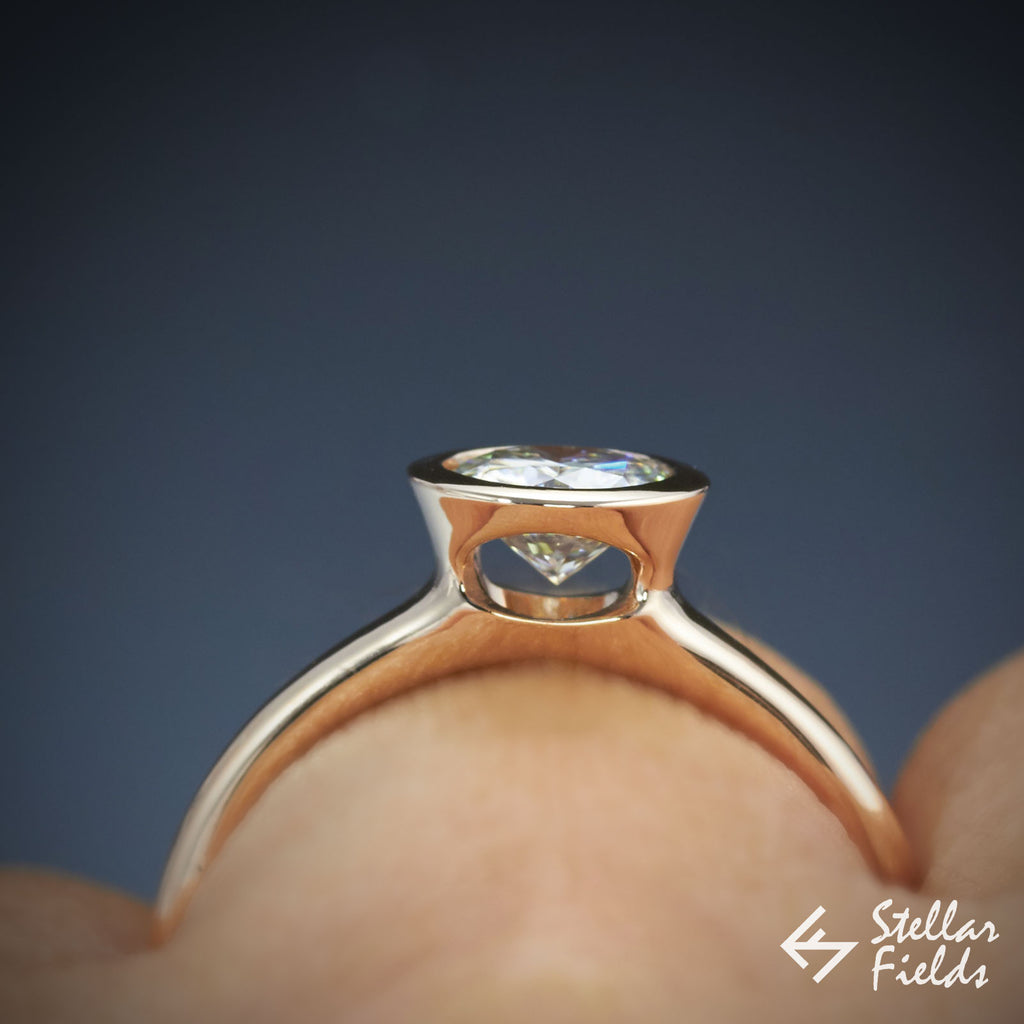 1ct Round Brilliant Diamond set in simple and modern full bezel peekaboo engagement ring in 14k rose gold