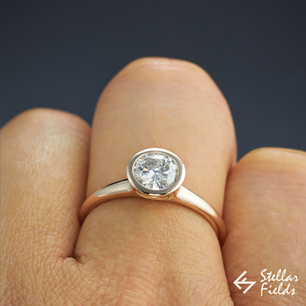 1carat Round Solitaire Diamond full bezel set engagement ring in 14k rose gold