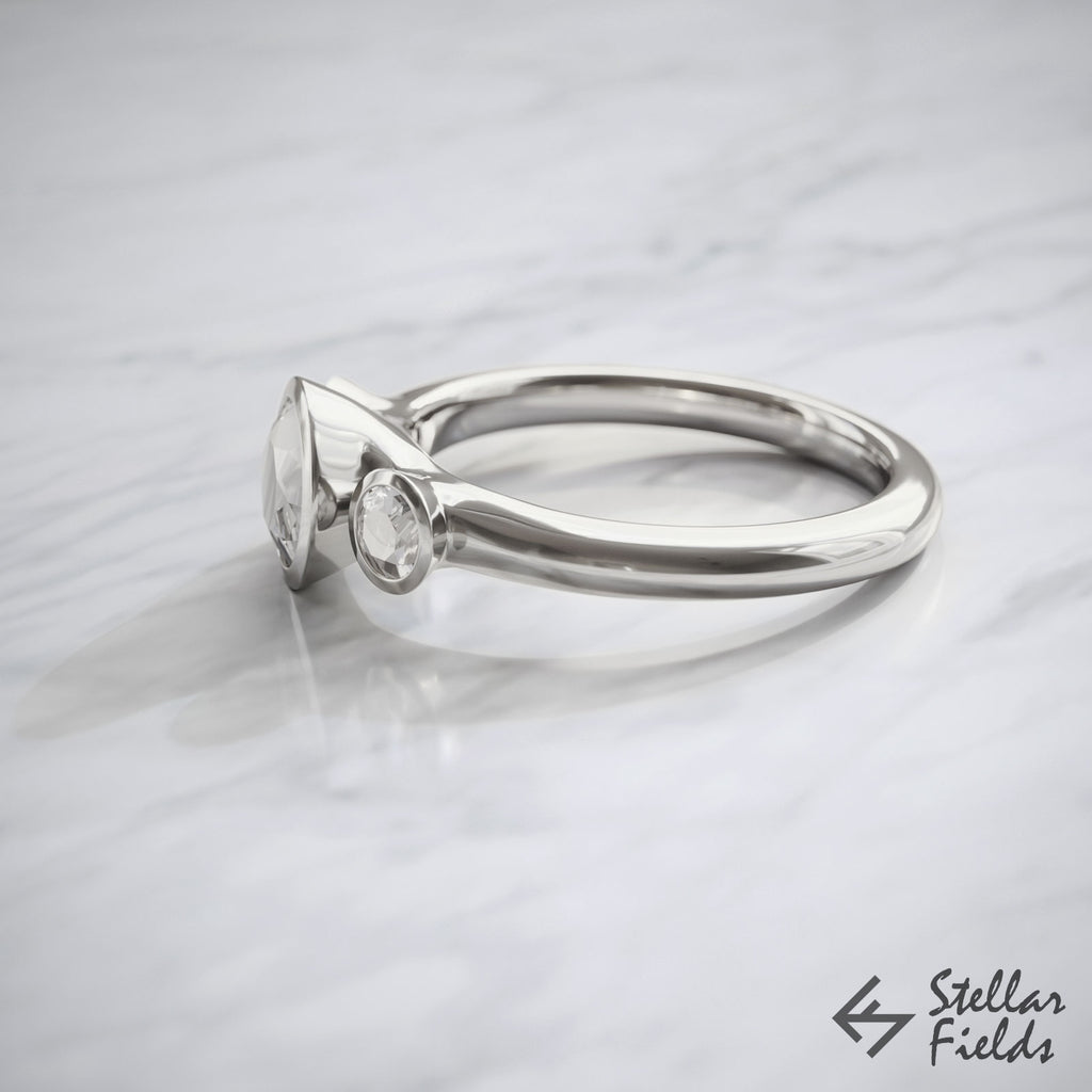 3 Stone Modern Bezel Ring Ethical Moissanite & Diamonds Bezel Ring 14k White Gold Platinum Stellar Fields