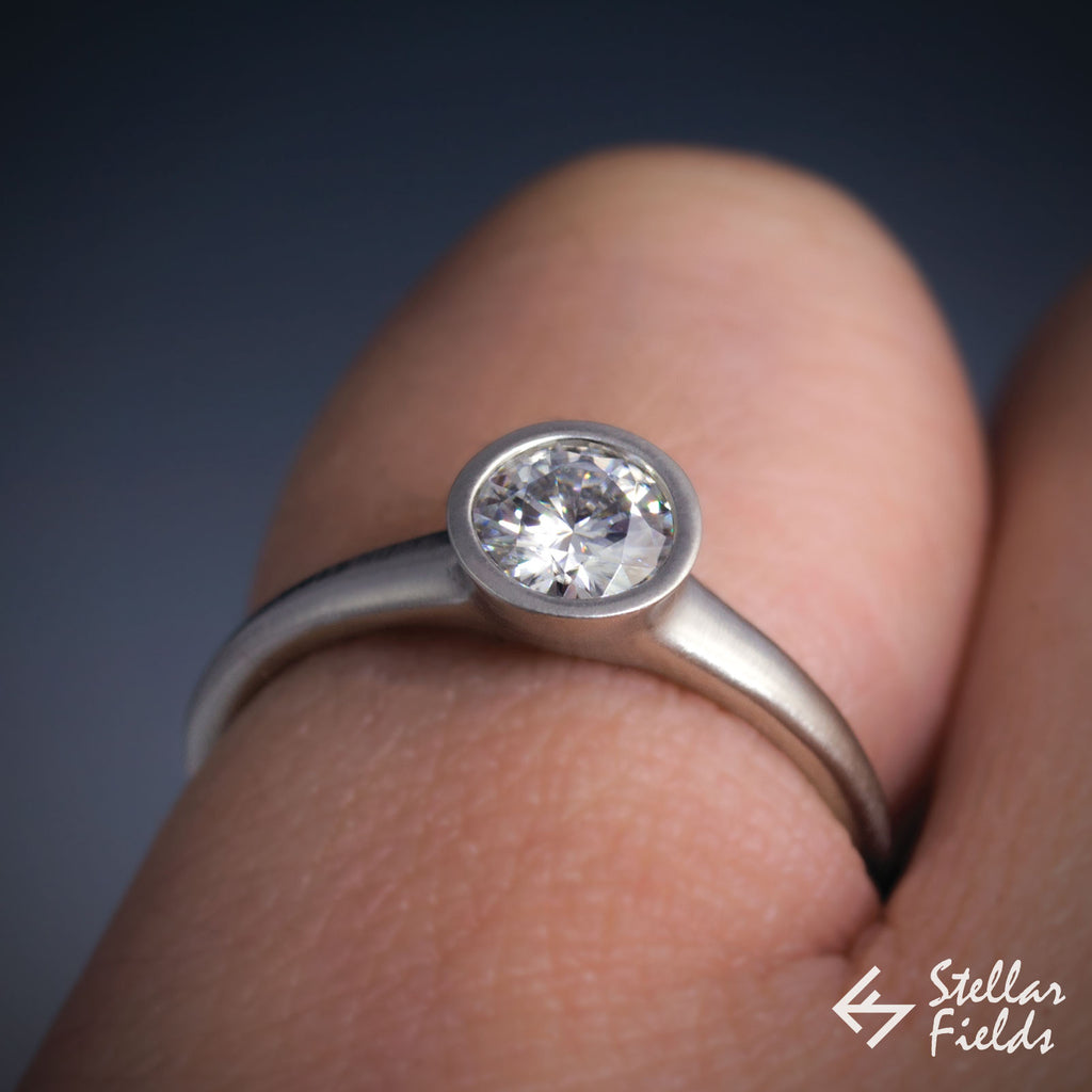 Round Diamond Full Bezel Set Engagement Ring - VS2/G (0.5CT) - Stellar Fields