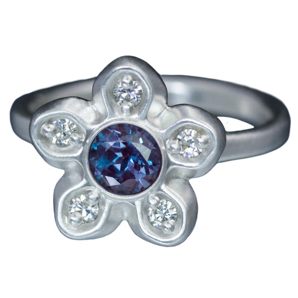 Chatham™ Alexandrite & Diamond Accents Star Engagement Ring - Stellar Fields