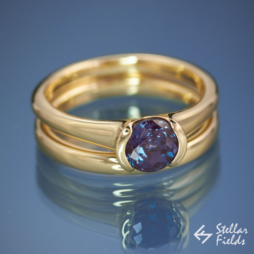 Alexandrite Modern Bezel Engagement Ring Yellow Gold Stellar Fields
