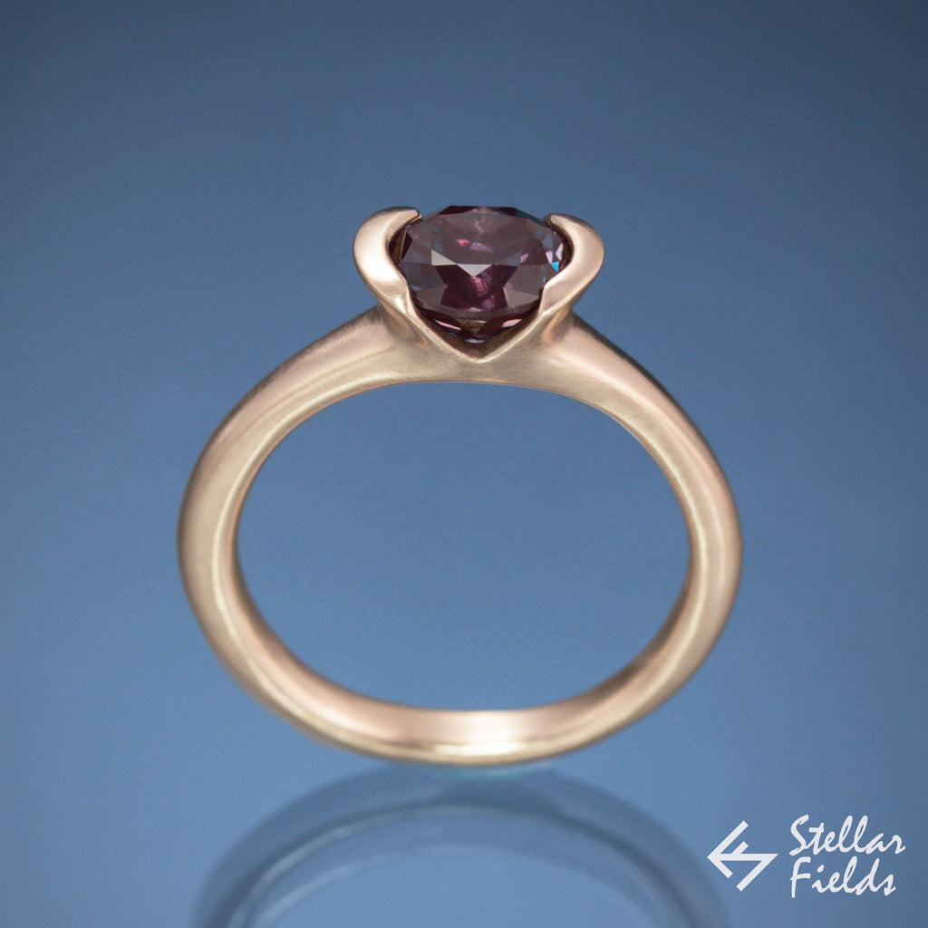 Alexandrite Semi Bezel Engagement Ring Modern Minimal Rose Gold Stellar Fields