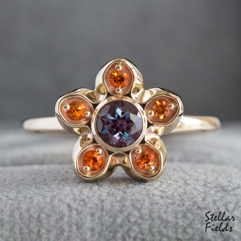 Alexandrite Star Cluster Ring Padparadscha Sapphires 14k Gold