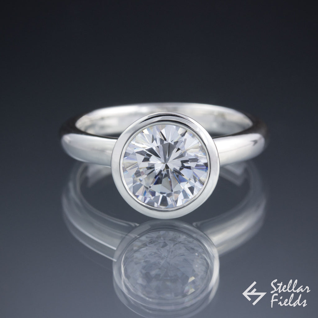Bezel Engagement Ring 2ct 8mm Forever One Moissanite - Stellar Fields
