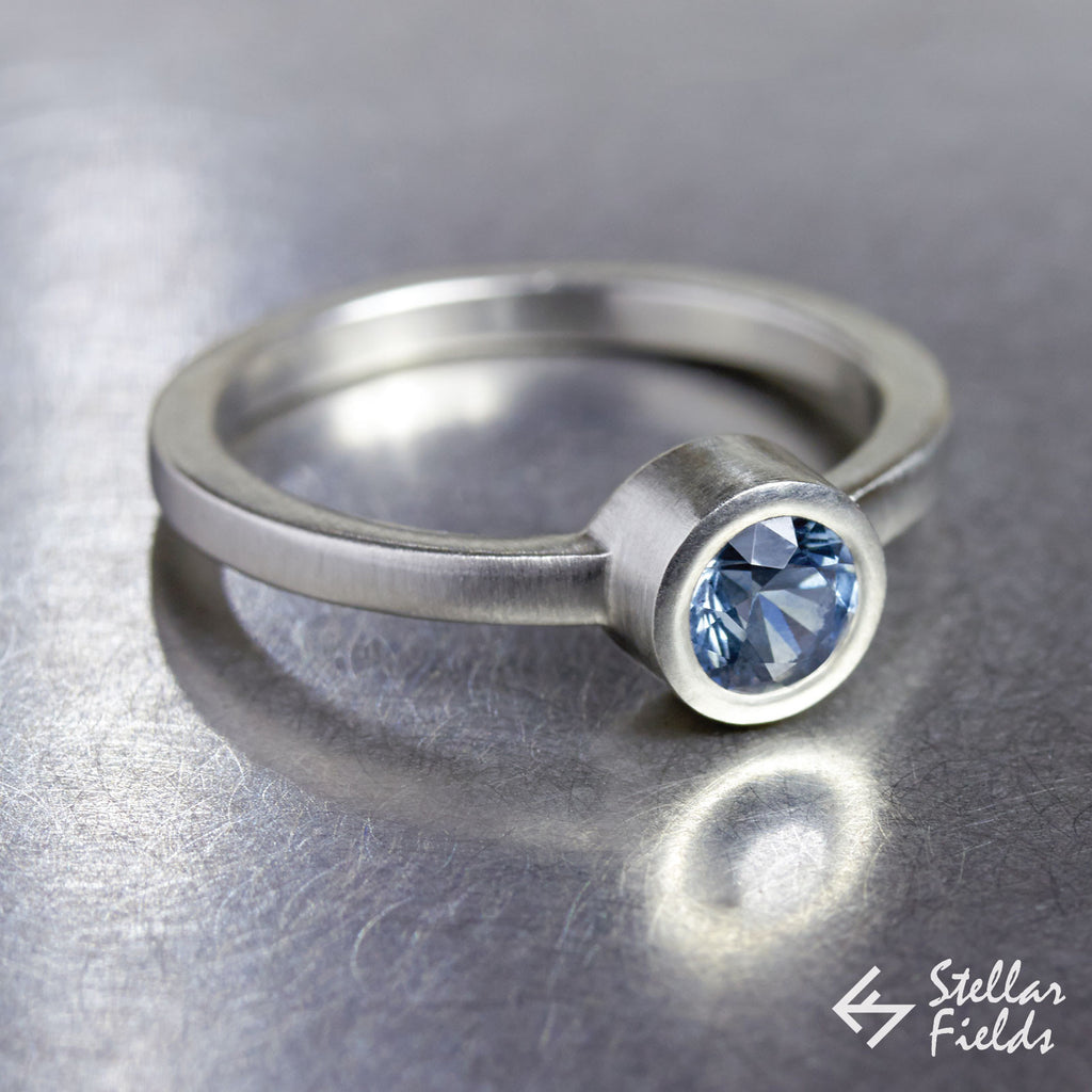 Blue Montana Sapphire Bezel Engagement Ring - Stellar Fields