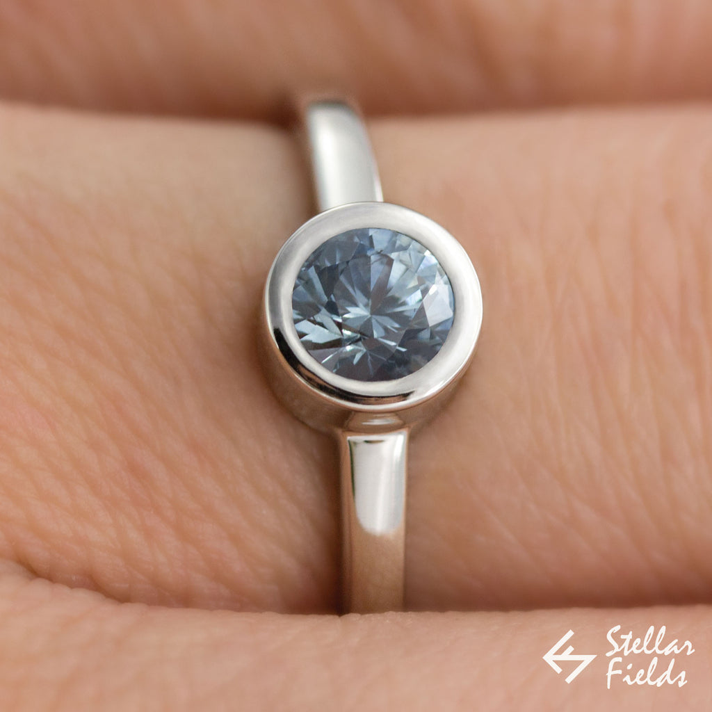 Blue Montana Sapphire Bezel Set Engagement Ring in White Gold Platinum Stellar Fields Jewelry