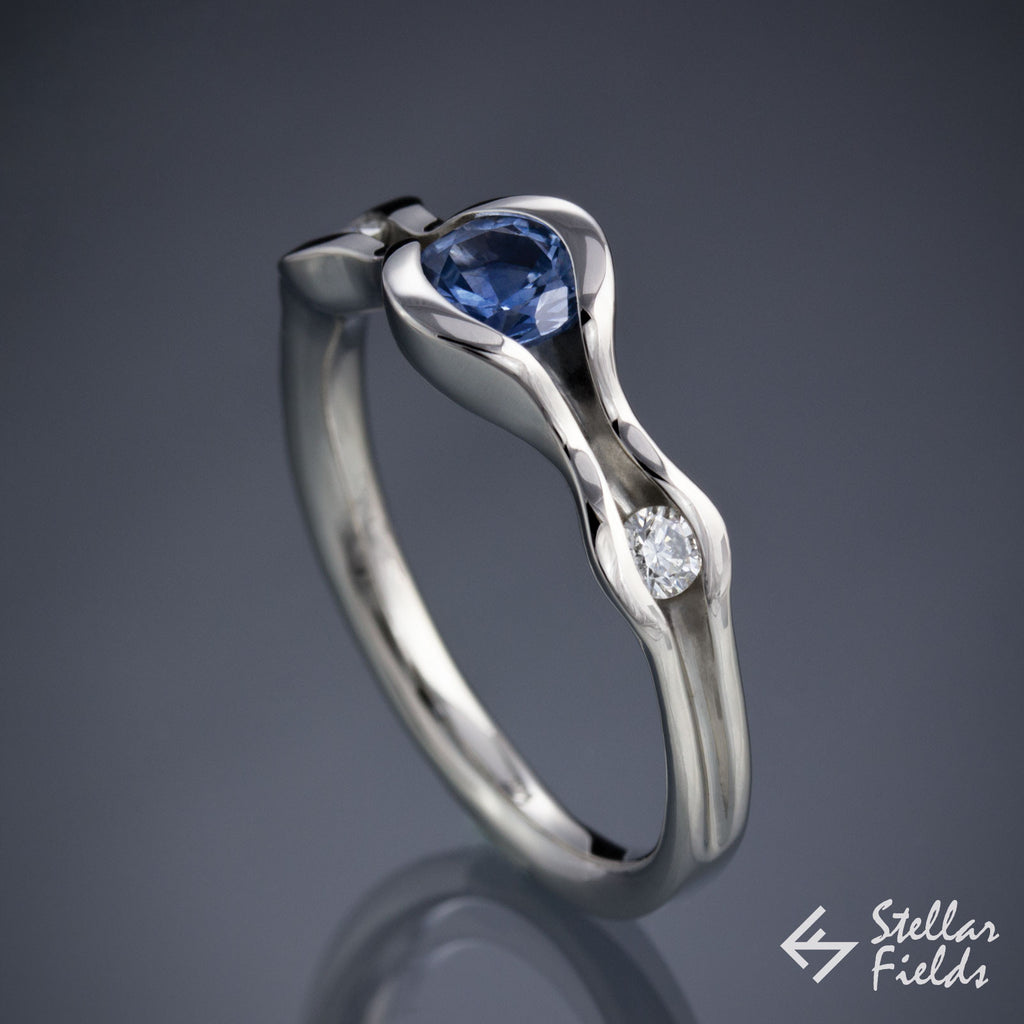 Blue Montana Sapphire Three Stone Wave Engagement Ring White Gold Platinum StellarFields