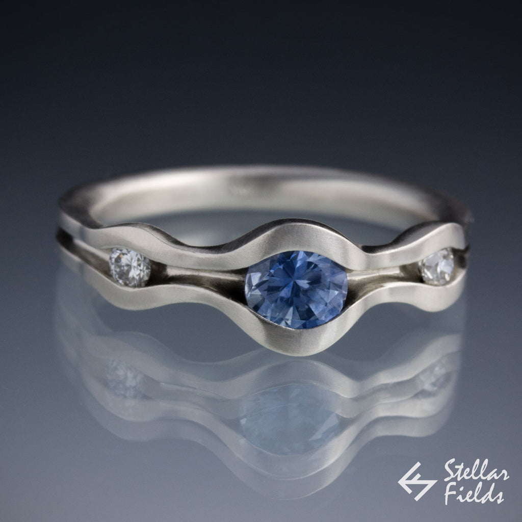 Blue Sapphire Engagement Ring 14k White Gold Platinum Stellar Fields Jewelry