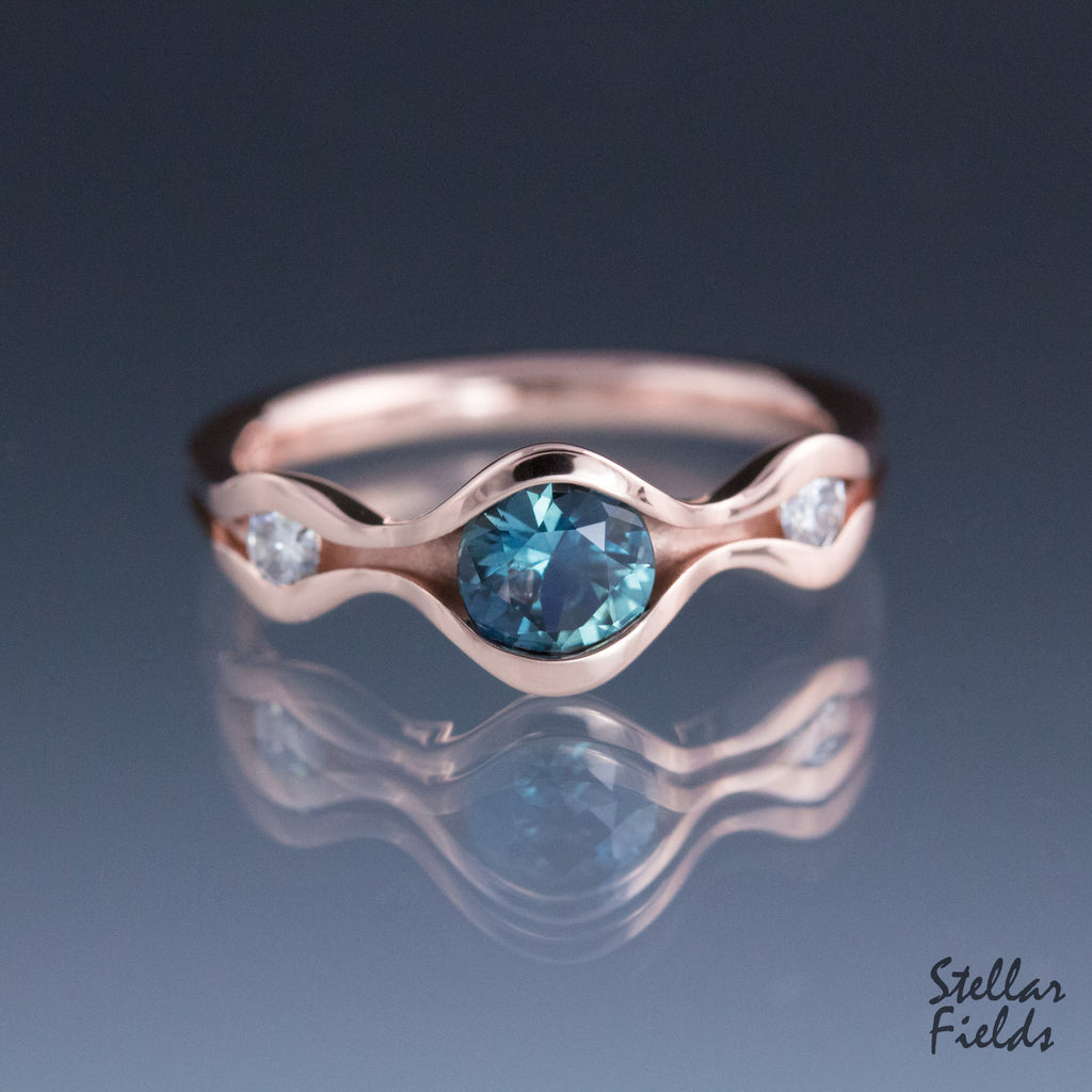 Blue Sapphire Wave Engagement Ring Three Stone Engagement Ring Rose Gold Stellar Fields Jewelry