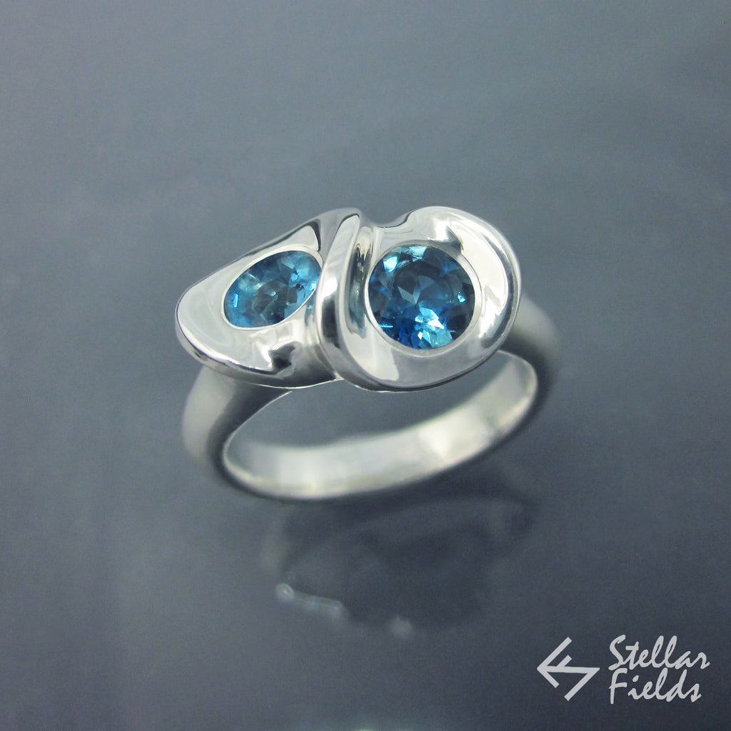 Blue Topaz Two Stone Unique Eternity Ring - Stellar Fields