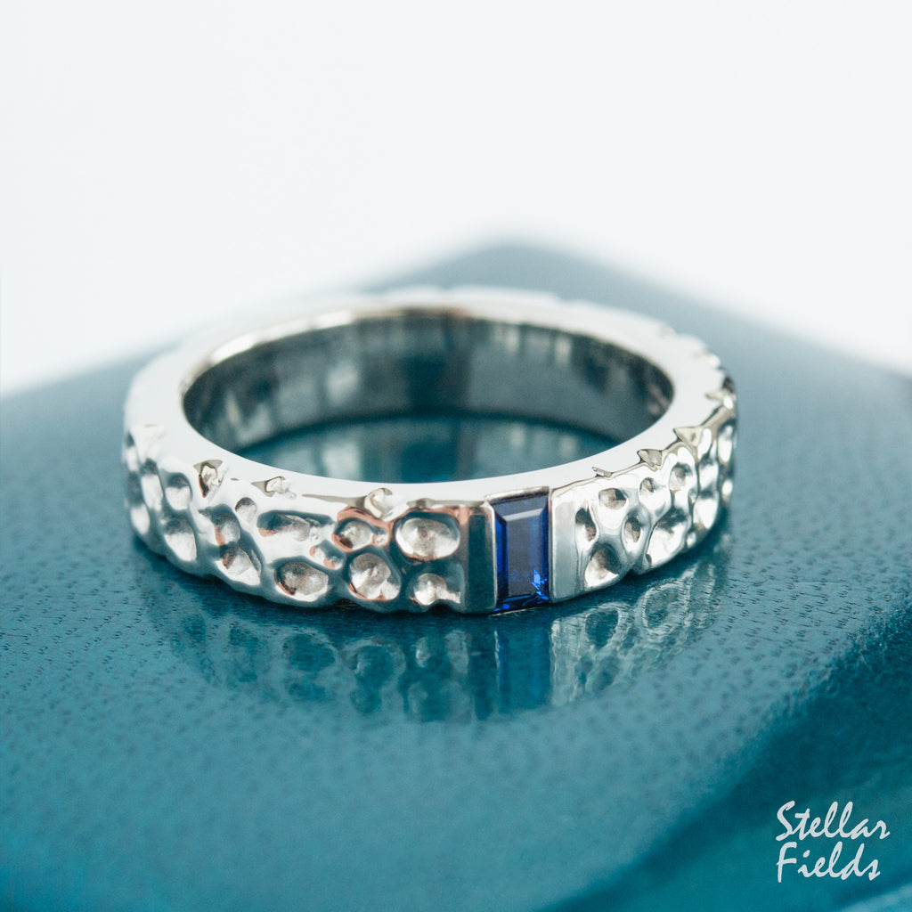 Modern Textured Wedding Band Cornflower Blue Sapphire Wedding Ring Unique OOAK Stellar Fields