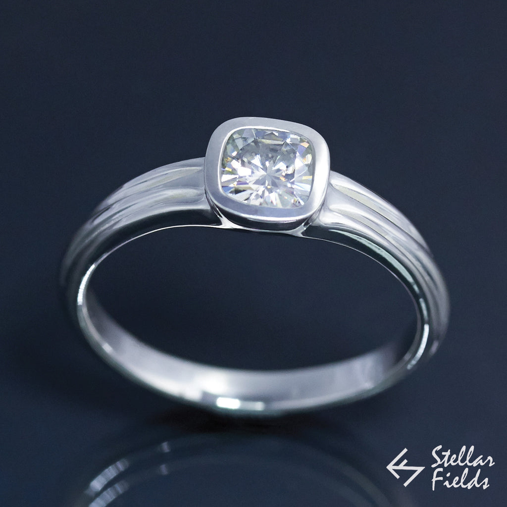 Cushion Cut Forever Brilliant™ Moissanite Square Bezel Engagement Ring - Stellar Fields