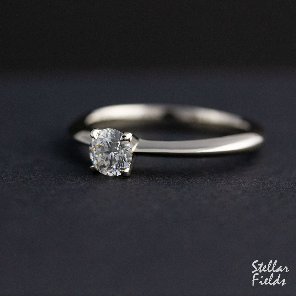 Custom Solitaire Moissanite Engagement Ring Handcrafted Stellar Field
