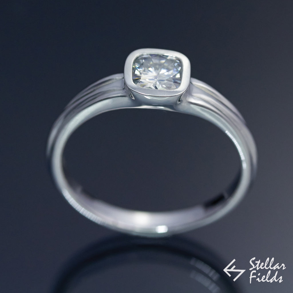 Cushion Cut Diamond Square Bezel Engagement Ring - SI1/H (0.7CT) - Stellar Fields