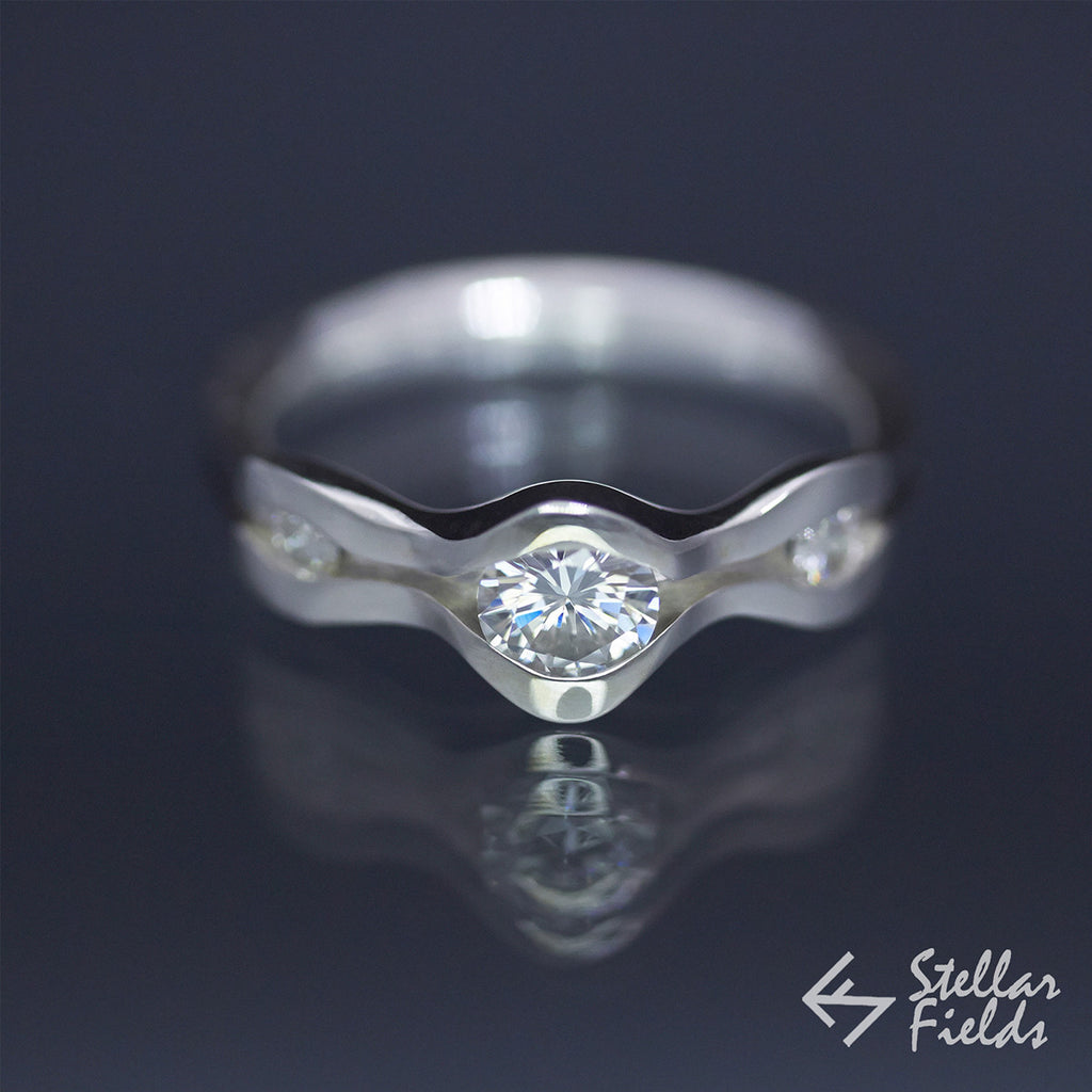 0.5ct Diamond Wave Engagement Ring in 14k White Gold Platinum