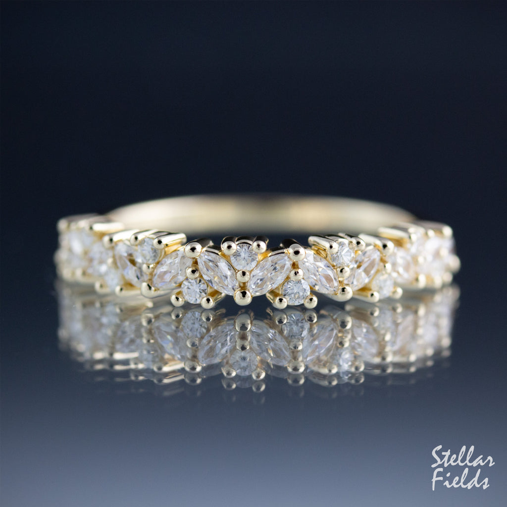 Diamond Cluster Wedding Ring Floral Wedding Band 14k Yellow Gold Stellar Fields Jewelry