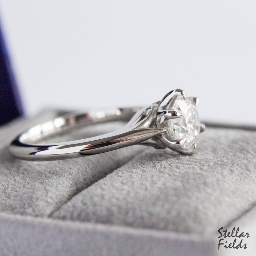 Diamond Foundry Lab Diamond Prong Engagement Ring Platinum Stellar Fields